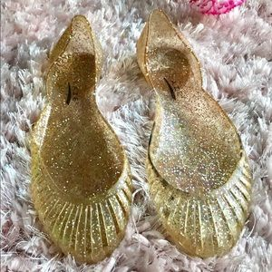 👑Gold Shimmering Jelly Flats 👑Size 8